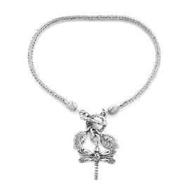 Royal Bali Collection-Tulang Naga Bracelet (Size 7 )with Dragonfly and Leaf Charm Sterling Silver,Si