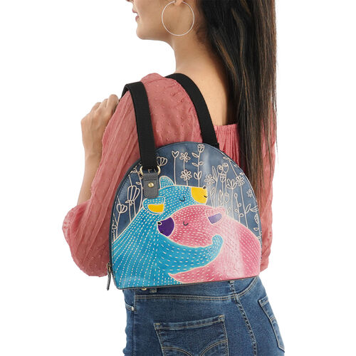 SUKRITI 100% Genuine Leather RFID Protected Bear Couple Round Crossbody Bag with Adjustable Shoulder Strap (Size 27x25.5x11.5cm) - Teal