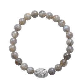 Labradorite and Simulated Diamond Beads Stretchable Bracelet (Size 7.5) in Silver Tone 93.00 Ct.
