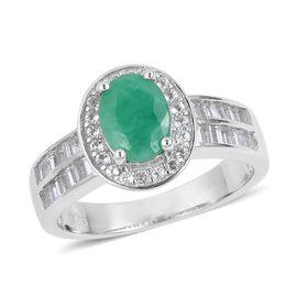 Rare Size Kagem Zambian Emerald (Ovl 8x6 mm), White Topaz Ring in Platinum Overlay Sterling Silver 1.750 Ct.