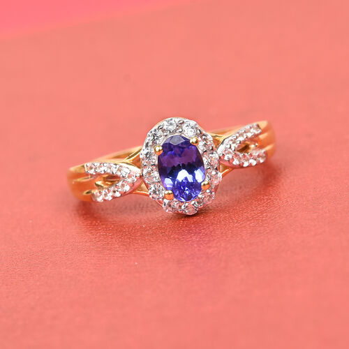 AAA Tanzanite and Natural Cambodian Zircon Ring in 14K Yellow Gold Overlay Sterling Silver 1.00 Ct.