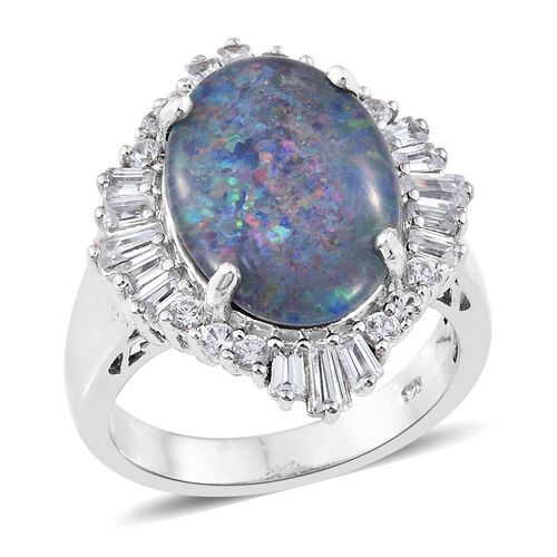 Extremely Rare Size Australian Boulder Opal (Ovl 18x13mm), Natural Cambodian Zircon Ring in Platinum Overlay Sterling Silver, Silver wt 6.40 Gms.