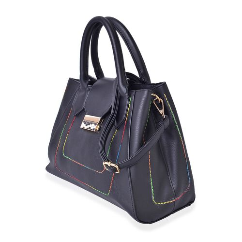 Close Out Deal-Timeless Collection Black Colour Tote Bag with External Zipper Pocket and Removable Shoulder Strap (Size 31.5x22x15 Cm)