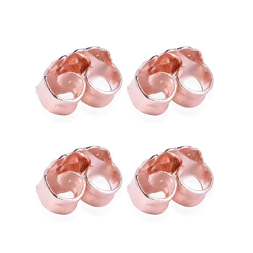 Set 2 Pair of Ear Backs (9mm) in Rose Gold Overlay Sterling Silver
