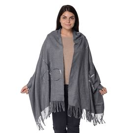 Floral Pattern Winter Scarf with Tassel (Size 90x180 Cm) - Grey