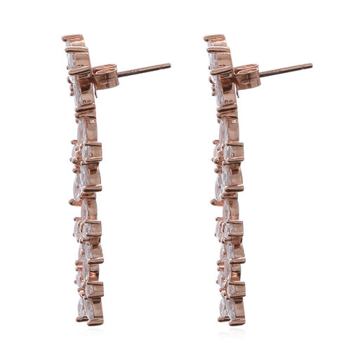 ELANZA AAA Simulated Diamond Dangle Earrings (with Push Back) in Rose Gold overlay Sterling Silver