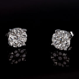 NY Close Out -14K White Gold Diamond (I1/G-H) Stud Earrings (with Push Back) 1.50 Ct.