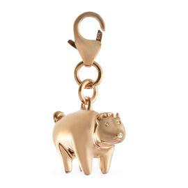14K Gold Overlay Sterling Silver Piglet Charm