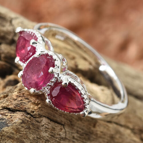 African Ruby (Ovl and Pear) Trilogy Ring in Sterling Silver Ring 1.750  Ct