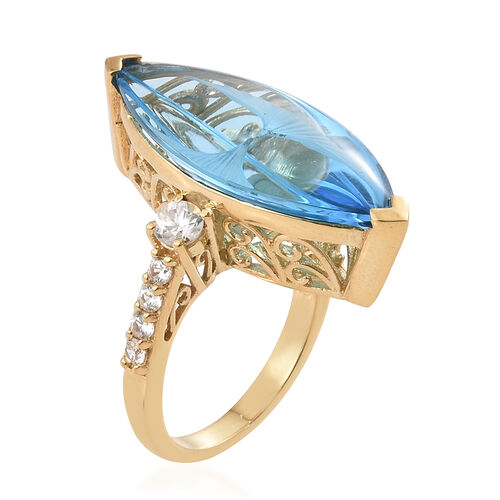 TJC Launch - Marambaia Topaz (Mrq 21.75 Ct), Natural Cambodian Zircon Ring in 14K Gold Overlay Sterling Silver 23.000 Ct. Silver wt 6.55 Gms.