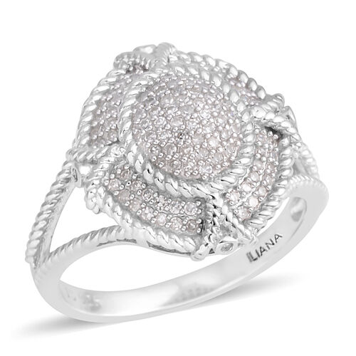 0.37 Ct Diamond Ring in Rhodium Plated Silver 4.70 gms Number of Diamonds 103
