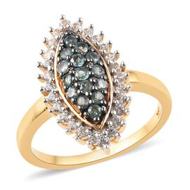 Narsipatnam Alexandrite and Natural Cambodian Zircon Cluster Ring in 14K Gold Overlay Sterling Silve