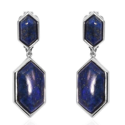 Designer Inspired - Lapis Lazuli (Hexagon 18x10 mm) Clip-On Drop Earrings (25.00 Ct) in Silver Tone
