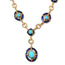 AA Arizona Sleeping Beauty Turquoise Enamelled Necklace (Size 18 with 2 inch Extender) in 14K Gold O