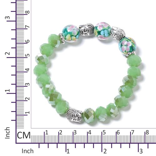 Set of 3 Simulated Hebei Peridot, Murano Style Glass, Simulated White Pearl and Multi Colour Stretchable Beads Bracelet (Size 7) with Charm in Silver Bond