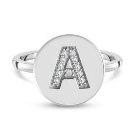 White Diamond Initial-A Ring in Platinum Overlay Sterling Silver