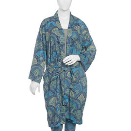 100% Cotton Dark and Light Blue Colour Printed Apparel (Size 100x65 Cm)