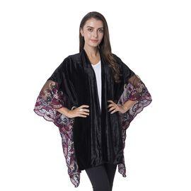 Black Colour Nice Velvet Kimono with Embroidery Flower Lace Sleeve (Size 108x80 Cm)