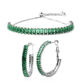 2 Piece Set - Simulated Emerald Adjustable Bolo Bracelet (Size 6-9) and Earrings (with Clasp) in Yel