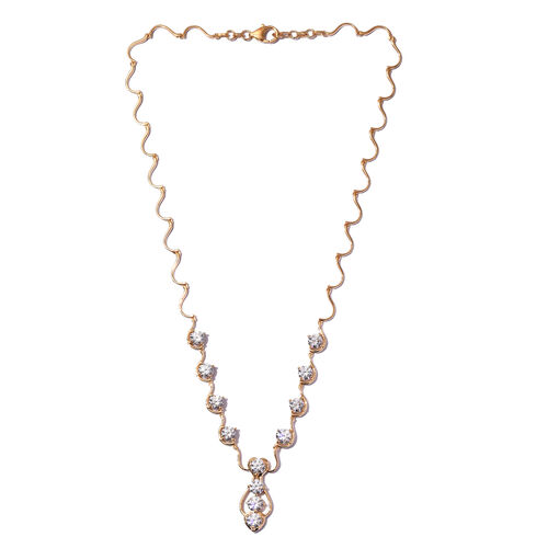 J Francis 14K Gold Overlay Sterling Silver Necklace (Size 18) Made with SWAROVSKI ZIRCONIA, Silver wt. 14.50 Gms