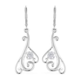 J Francis - Sterling Silver (Rnd) Lever Back Earrings Made with SWAROVSKI ZIRCONIA
