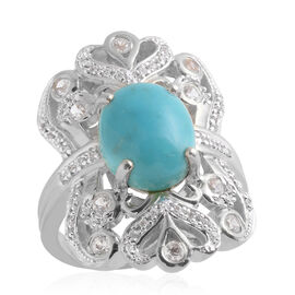 5.36 Ct Brazilian Milky Aquamarine and Cambodian Zircon Ring in Sterling Silver 8 Grams