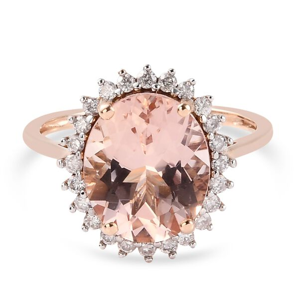 9K Rose Gold Maroppino Morganite and Diamond Ring 4.820 Ct.