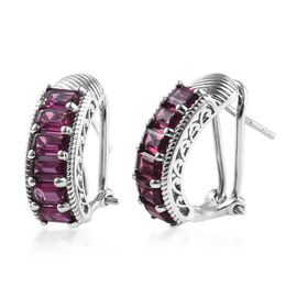 Rhodolite Garnet (Oct) Earrings (with French Clip) in Platinum Overlay Sterling Silver 4.80 Ct, Silv
