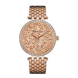 CARAVELLE Womens Modern Crystal Rock Dial Bracelet Watch in Rose Gold Tone - 40mm - up to 9in