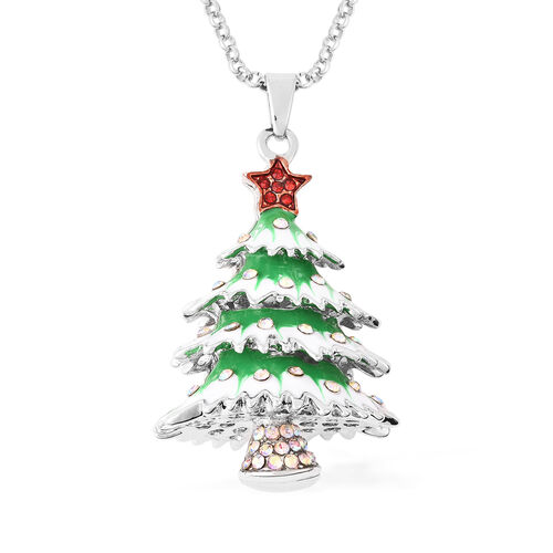 Red Austrain Crystal and Simulated Mystic White Crystal Enamelled Christmas Tree Pendant With Chain