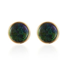 AA Canadian Ammolite (Rnd 10mm) Stud Earrings (with Push Back) in Yellow Gold Vermeil Sterling Silver