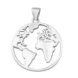 World Map Design Pendant in Sterling Silver 4.11 Grams
