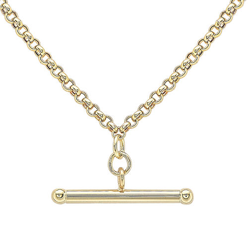 Hatton Garden Close Out Belcher T Bar Necklace in 9K Gold 18 Inch