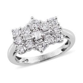 RHAPSODY 950 Platinum IGI Certified  Diamond (Rnd and Bgt) (VS/E-F) Boat Cluster Ring 1.000 Ct.