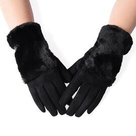 Fluffy Faux Fur Trim Gloves (Size 9x23cm) - Black