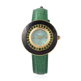 EON 1962 Swiss Movement Russian Diopside (Rnd), Black Ceramic Water Resistant Watch in Yellow Gold P