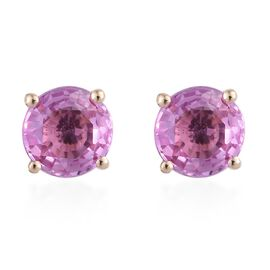 14K Yellow Gold AA Pink Sapphire (Rnd) Stud Earrings (with Push Back) 1.100 Ct.
