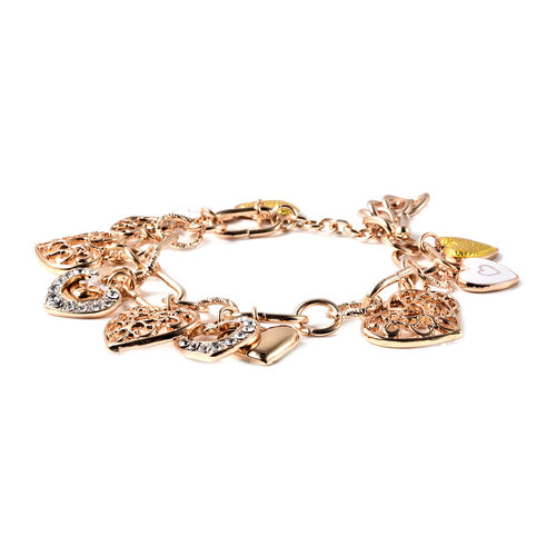 2 Piece Set - White Austrian Crystal Enamelled Heart Charm Bracelet (Size 9) and Hook Earrings in Gold Tone