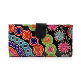 100% Genuine Leather Multi Colour Handpainted Circle Pattern Wallet with RFID Blocking (Size 22.75x11.5x3 Cm)