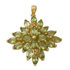 10 Carat AA Hebei Peridot Cluster Pendant in Yellow Gold Plated Sterling Silver