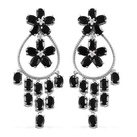 Boi Ploi Black Spinel (Ovl), Natural Cambodian Zircon Dangle Earrings (with Push Back) in Platinum O
