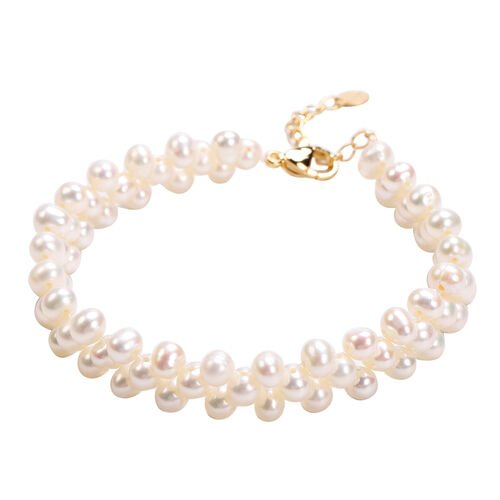 Freshwater Pearl Beads Bracelet (Size 7.5 with 1.5 inch Extender) in Yellow Gold Tone