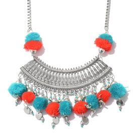 Trendy Boho Style Pom Pom Collar Necklace in Silver Plated