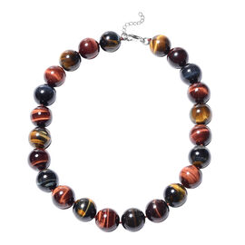 Multi Colour Tiger Eye Beaded Necklace in Rhodium Plated Silver 20 with 2 inch Extender