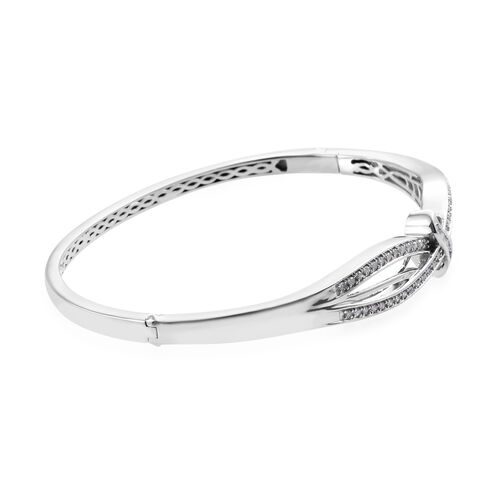Diamond (Rnd and Bgt) Bangle (Size 7.5) in Platinum Overlay Sterling Silver 0.500 Ct, Silver wt 15.00 Gms