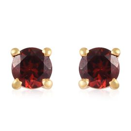 Mozambique Garnet Stud Earrings (with Push Back) in 14K Gold Overlay Sterling Silver 1.50 Ct.