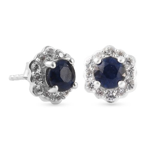 Masoala Blue Sapphire and Natural Cambodian Zircon Floral Stud Earrings (with Push Back) in Platinum Overlay Sterling Silver 2.05 Ct.