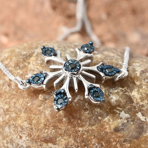 Blue Diamond (Rnd) Adjustable Snowflake Bracelet (Size 7.50 to 9.50) in Platinum and Blue Overlay Sterling Silver 0.100 Ct