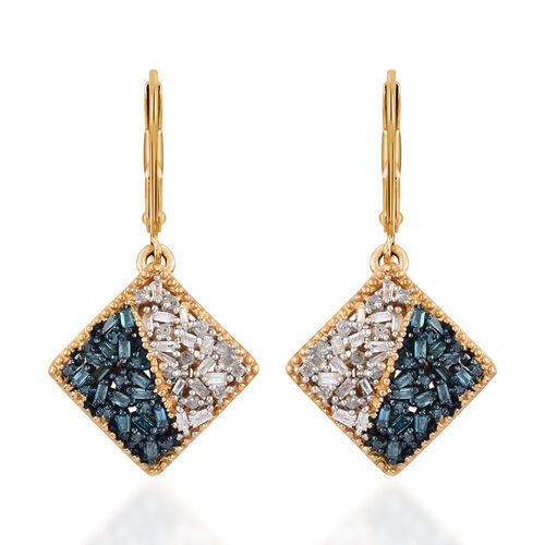 Blue and White Diamond (Bgt) Lever Back Earrings in 14K Gold and Platinum Overlay with Blue Plating