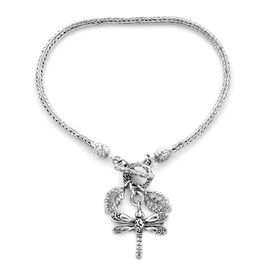Royal Bali Tulang Naga Bracelet with Leaves and Dragonfly Charm in Silver 8.70 Grams 6.5 Inch